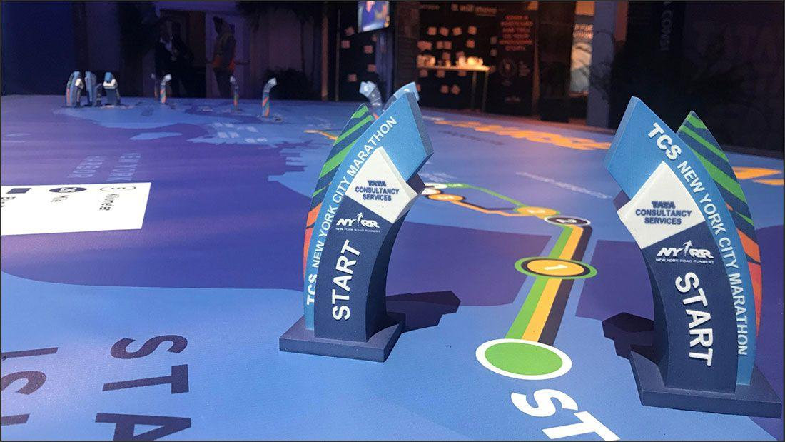 Color 3d printing New York City Marathon color 3d printed mile markers example rwo